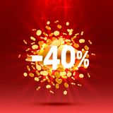 Podium action with share discount percentage 40. Vector. Illustration royalty free illustration