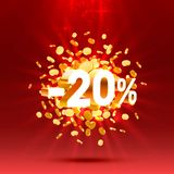 Podium action with share discount percentage 20. Vector. Illustration stock illustration