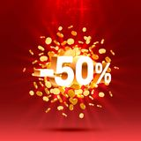 Podium action with share discount percentage 50. Vector. Illustration vector illustration
