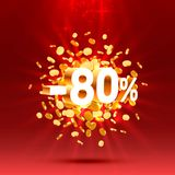Podium action with share discount percentage 80. Vector. Illustration royalty free illustration