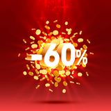 Podium action with share discount percentage 60. Vector. Illustration vector illustration