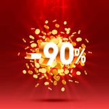 Podium action with share discount percentage 90. Vector. Illustration vector illustration