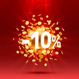Podium action with share discount percentage 10. Vector. Illustration vector illustration