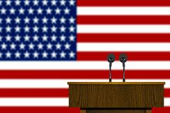 Podium and American flag. Image of a podium and American flag Royalty Free Stock Image