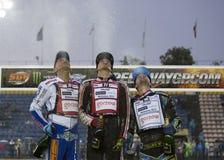 Podium av den 5th etappen av speedwayen Gran Prix Arkivbild