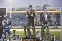 Podium av den 5th etappen av speedwayen Gran Prix Royaltyfri Foto