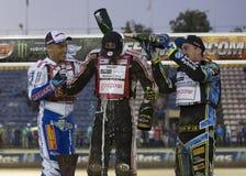 Podium av den 5th etappen av speedwayen Gran Prix Fotografering för Bildbyråer