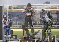 Podium av den 5th etappen av speedwayen Gran Prix Royaltyfri Fotografi