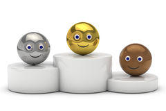 Podium avec le symbole de smiley de la boule 3d Photos stock