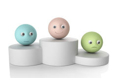 Podium avec le symbole du smiley 3d Images libres de droits