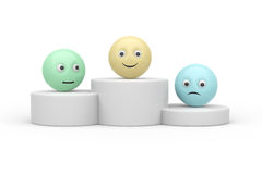 Podium avec le symbole du smiley 3d Photographie stock