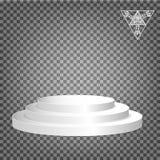 Podium blanc à multiniveaux sur un fond transparent Photos libres de droits