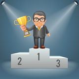Podium businessman hold prize win award in hand light stage ceremony illuminated 3d cartoon design vector illustration. Podium businessman hold prize win award Stock Image