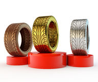 Podium with car tyres Stock Images