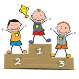Podium. Children on the podium. Humorous illustration Royalty Free Stock Photography