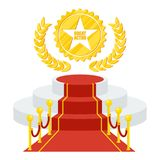 Podium for cinema award. Red carpet and film festival award. Flat vector cartoon Red carpet illustration. Objects isolated on a white background Stock Image