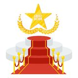 Podium for cinema award. Red carpet and film festival award. Flat vector cartoon Red carpet illustration. Objects isolated on a white background Stock Photos