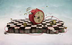 Podium with clock, cards and rope. Podium with red old clock, flying cards, rope,  photo wallpapers. Computer Graphics Royalty Free Stock Photography
