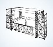 Podium concert stage. Vector drawing. Scaffolding runway area for amplifiers loud pop audio musician on white backdrop. Freehand line black ink hand drawn Stock Photo