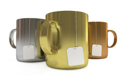Podium of cups with tea labels, isolated. Podium of cups with blank tea labels, isolated on white, with clipping path Royalty Free Stock Photography