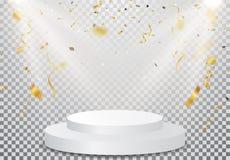 Podium de gagnant avec la célébration de confettis d'or sur le fond transparent photographie stock