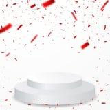 Podium de gagnant avec la célébration rouge de confettis sur le fond transparent images libres de droits