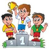 Podium de los ganadores de la historieta Imagen de archivo