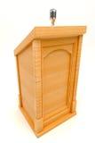 Podium de madera con el micrófono Fotografía de archivo