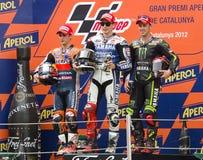 Podium del GP de Moto Imagenes de archivo