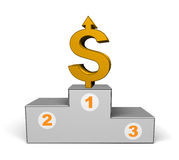 Podium with dollar Royalty Free Stock Photo