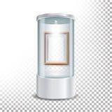 Podium en verre transparent d'étalage de musée avec le calibre, le projecteur et les étincelles en bois de cadre de tableau Moque Image stock