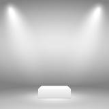 Podium für den Gegenstand Zwei Strahlen Licht auf einem grauen Hintergrund vektor abbildung