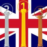 Podium für die Sieger der britischen Markierungsfahne Lizenzfreie Stockfotos