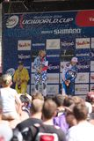 Podium final race, UCI downhill race Royalty Free Stock Photos