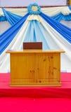 Podium Flaggen-Gewebehintergrund im Freien Lizenzfreies Stockbild