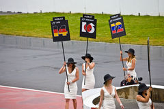 Podium Girls parading at Montreal Grand prix Stock Image