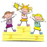 Podium, girls Royalty Free Stock Photography