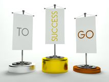 Podium with Go to Success sign on flags Stock Images