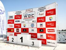 Podium of the grand prix. The podium of Fatih Grand Prix ready for the ceremony at UIM World Offshore 225 Championship on September 25, 2010 in Istanbul, TURKEY Royalty Free Stock Photography