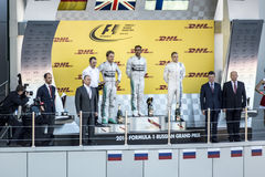 The podium of the Grand Prix of Russia. The Russian President du. Sochi, Russia -12 November 2014 : Formula One, Russian Grand Prix, Sochi autodrom , 16 stage Stock Image