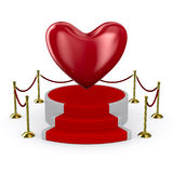 Podium and heart on white background Royalty Free Stock Photo