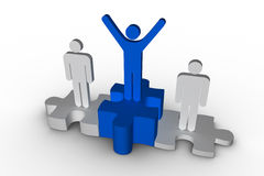 Podium of human figure where the winner is raising arms in blue. On white background Royalty Free Stock Image