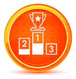 Podium icon natural orange round button vector illustration