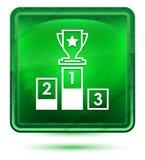 Podium icon neon light green square button royalty free illustration