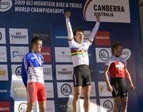 Podium an ihm UCI Gebirgsfahrradmeisterschaften 2009 Stockbilder