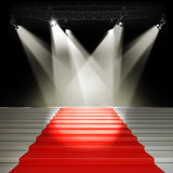 Podium. Illuminated empty stage podium for award ceremony Royalty Free Stock Photography