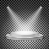 Podium illuminated with searchlights on a transparent background. Vector illustration.  Stock Image