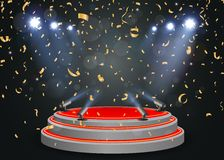 Podium with light and confetti Royalty Free Stock Images