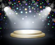 Podium with light. Stage with spotlights on a dark Stock Image