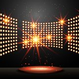 Podium with lights and shining stars. Vector Stock Photo